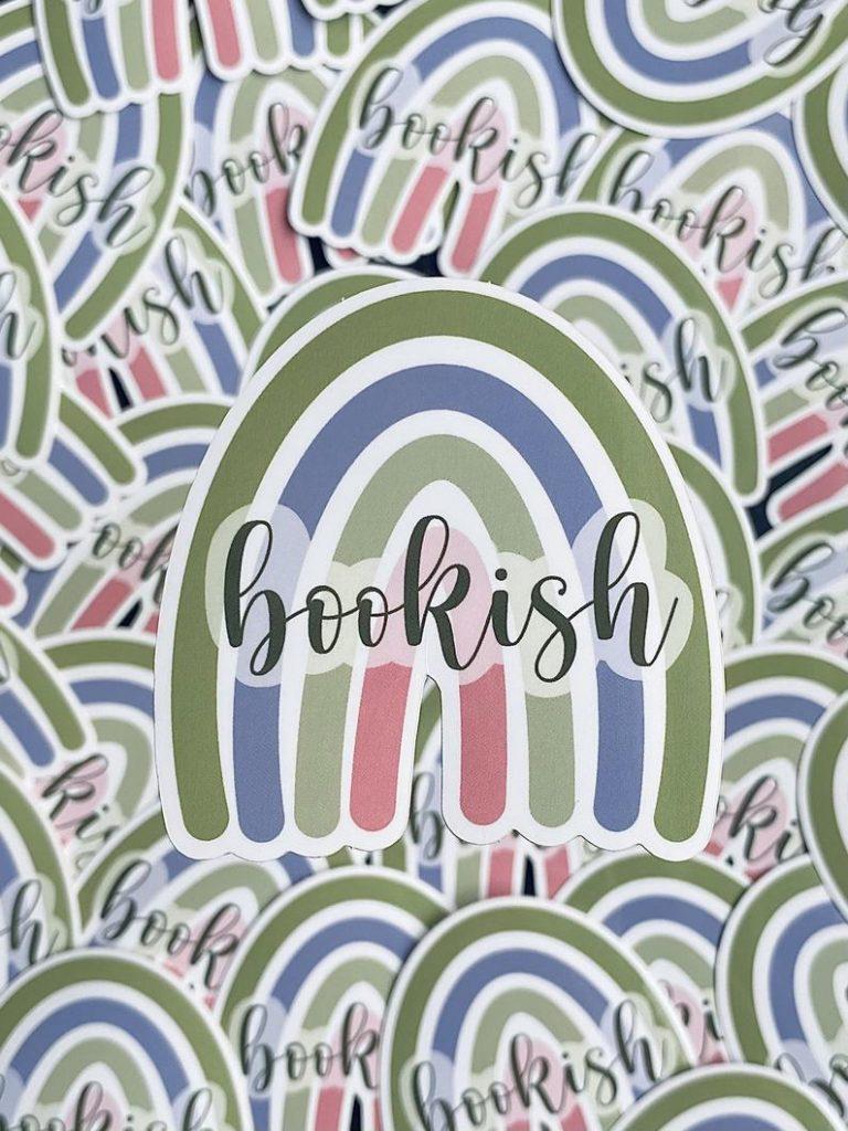 Bookish rainbow sticker
